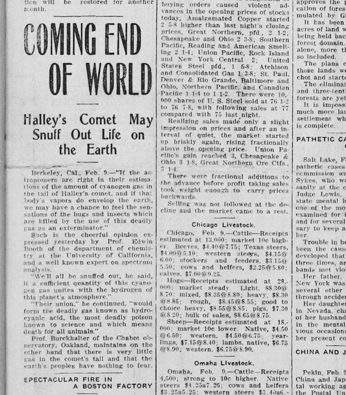Coming End of the World February 9th, 1910